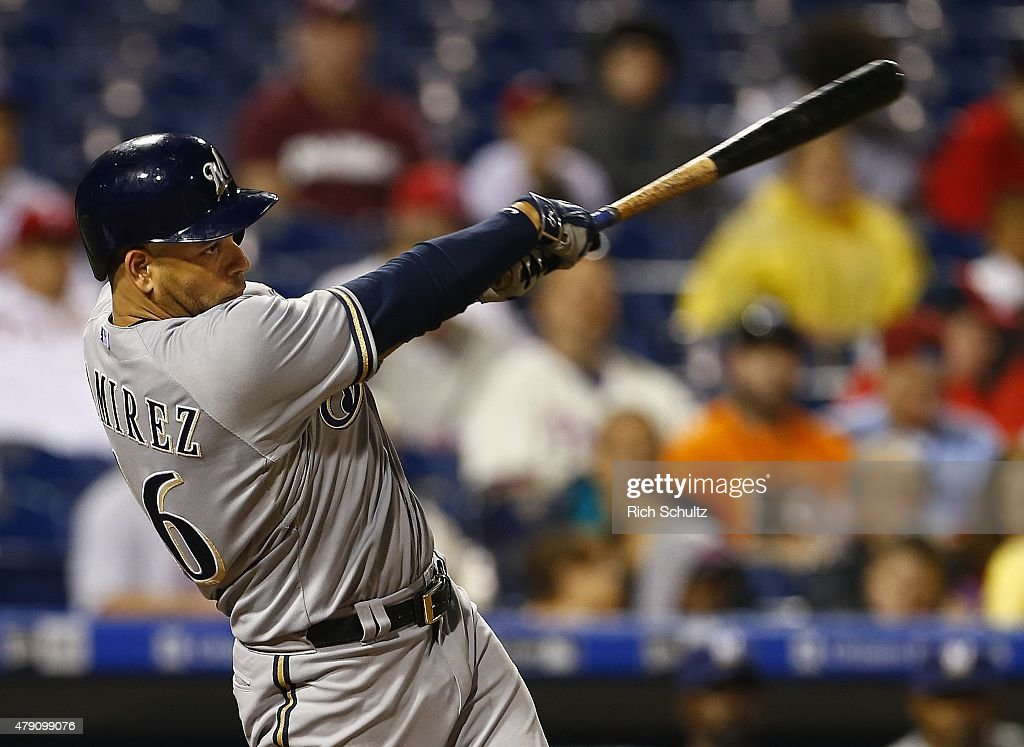 Aramis Ramirez of the Milwaukee Brewers hits an RBI single during the eighth inning against the Philadelphia Phillies during a MLB game at Citizens...