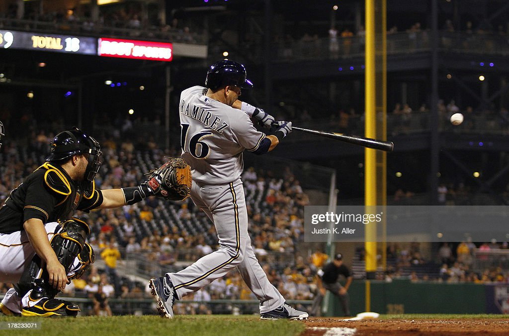 <a gi-track='captionPersonalityLinkClicked' href=/galleries/search?phrase=Aramis+Ramirez&family=editorial&specificpeople=239509 ng-click='$event.stopPropagation()'>Aramis Ramirez</a> #16 of the Milwaukee Brewers hits an RBI single in the seventh inning against the Pittsburgh Pirates during the game on August 27, 2013 at PNC Park in Pittsburgh, Pennsylvania.