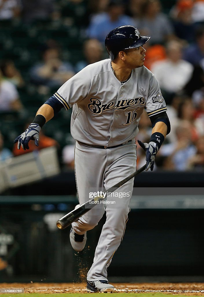Aramis Ramirez of the Milwaukee Brewers watches his home run to left field in the ninth inning against the Houston Astros at Minute Maid Park on June...