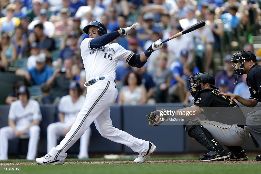 Aramis Ramirez of the Pittsburgh Pirates hits a single in the seventh inning against the Milwaukee Brewers at Miller Park on July 19 2015 in...