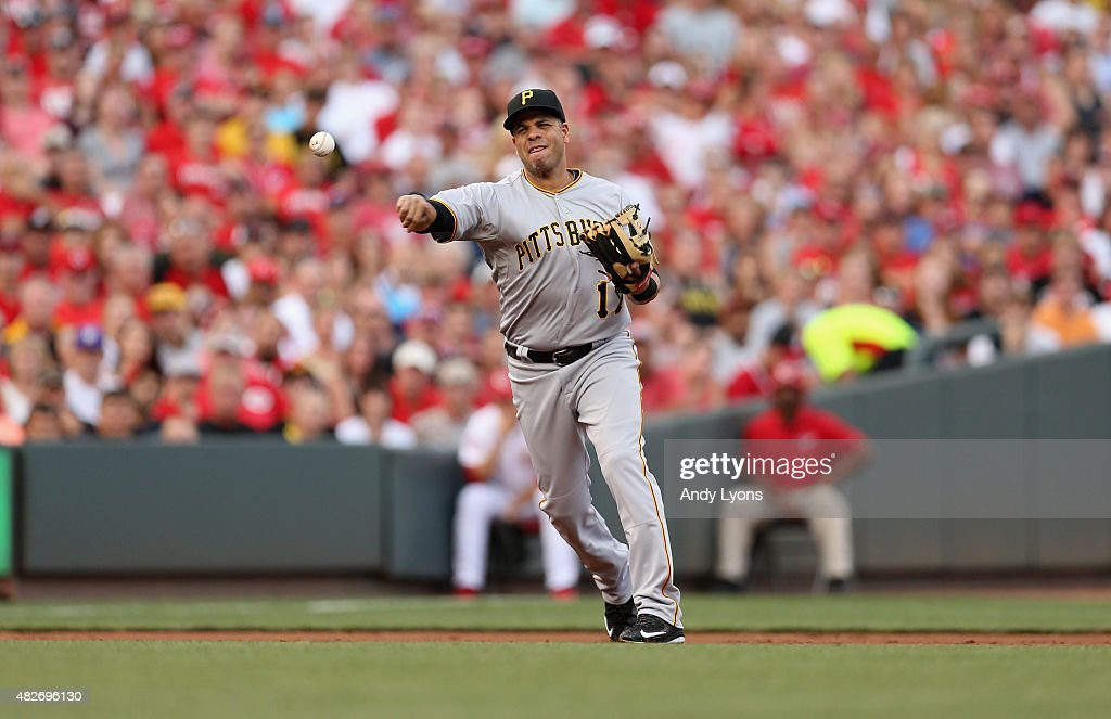 Aramis Ramirez of the Pittsburgh Pirates throws the ball to first base in the third inning against the Cincinnati Reds at Great American Ball Park on...