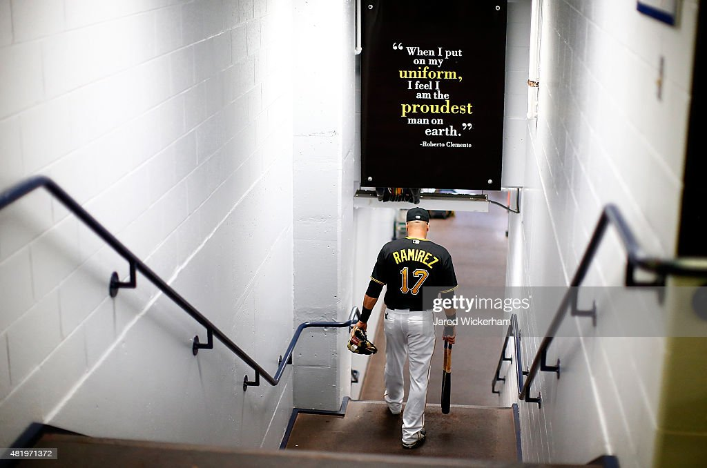 Aramis Ramirez of the Pittsburgh Pirates walks through the players tunnel on his way to the field prior to the game against the Washington Nationals...