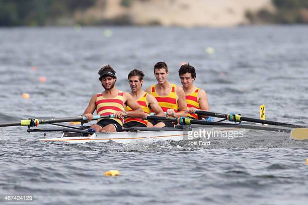 Aramoho/Wanganui Rowing Club men's club coxed four during the North Island Club Championships at Lake Karapiro on February 7 2014 in Cambridge New...