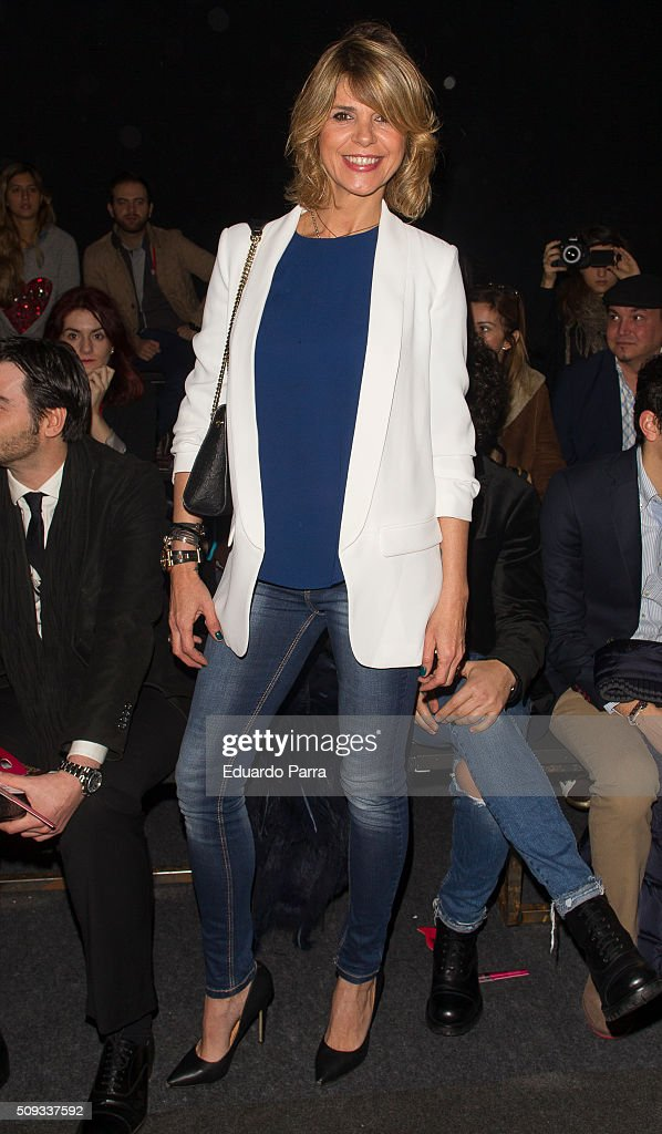 Arancha de Benito attends Maybelline NY & Bloomers&Bikini fashion show frontrow at Colon Square on February 10, 2016 in Madrid, Spain.
