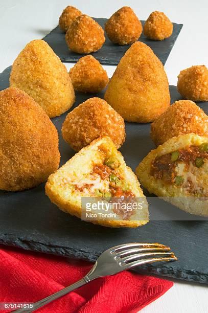 Arancini, deep-fried stuffed rice balls