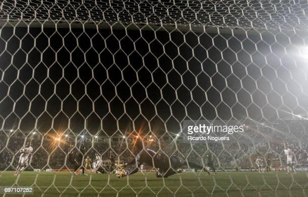 Aranha of Ponte Preta in action during the match between Santos and Ponte Preta as a part of Campeonato Brasileiro 2017 at Pacaembu Stadium on June...