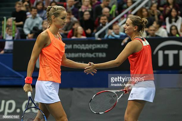 Arantxa Rus and Cindy Burger of Netherlands in an action against Ekaterina Makarova and Daria Kasatkina of Russia during the Fed Cup World Group...