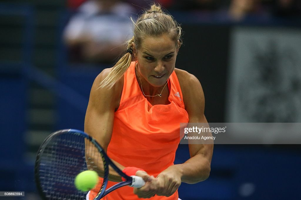 Arantxa Rus of Netherlands in an action against Ekaterina Makarova and Daria Kasatkina of Russia during the Fed Cup World Group First round tennis match in Moscow, Russia on February 7, 2016.
