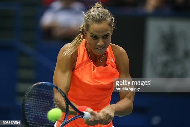 Arantxa Rus of Netherlands in an action against Ekaterina Makarova and Daria Kasatkina of Russia during the Fed Cup World Group First round tennis...