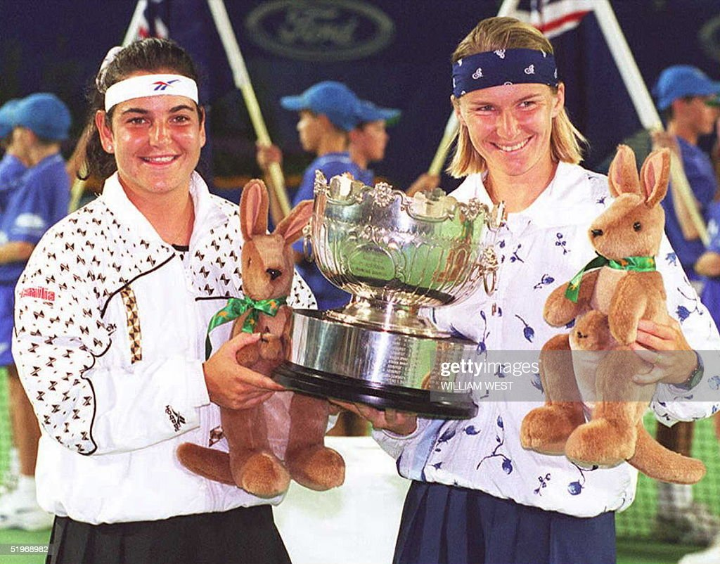 Arantxa Sanchez Vicario of Spain L and Czech Jan