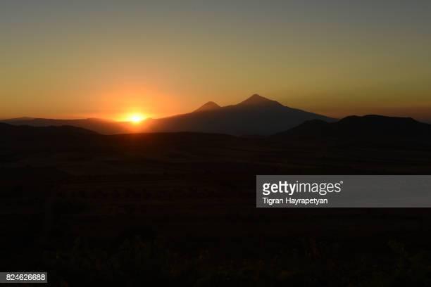 Ararat at sunset, view from Vayots Dzor mountains