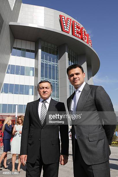 Aras Agalarov founder of Crocus Group left and his son Emin Agalarov wait ahead of the opening ceremony of their new Vegas shopping mall in Moscow...