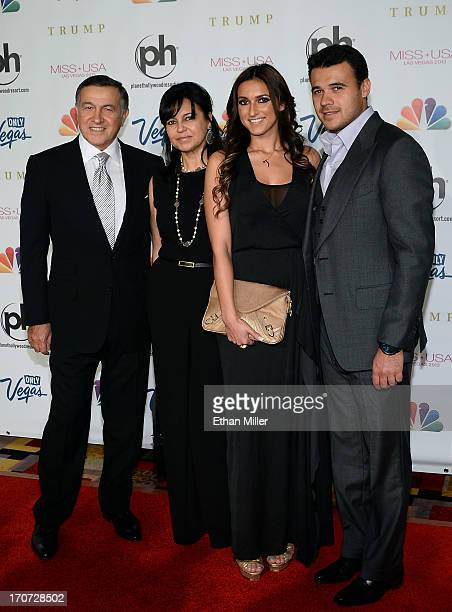 Aras Agalarov his wife Irina Agalarova their daughter Sheila Agalarova and son Russian singer Emin Agalarov arrive at the 2013 Miss USA pageant at...