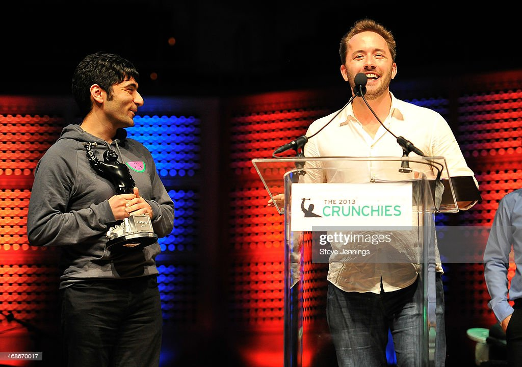 Arash Ferdowski and Drew Houston of Dropbox (L-R) win the Founder of the Year award at the 7th Annual Crunchies Awards at Davies Symphony Hall on February 10, 2014 in San Francisco, California.