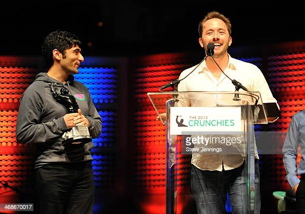 Arash Ferdowski and Drew Houston of Dropbox win the Founder of the Year award at the 7th Annual Crunchies Awards at Davies Symphony Hall on February...