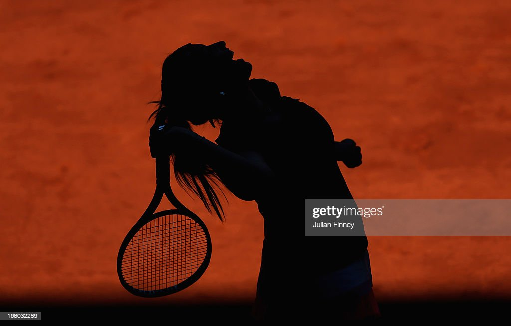 Aravane Rezai of France in action against Yulia Putintseva of Kazakhstan during the Mutua Madrid Open tennis tournament at the Caja Magica on May 4, 2013 in Madrid, Spain.