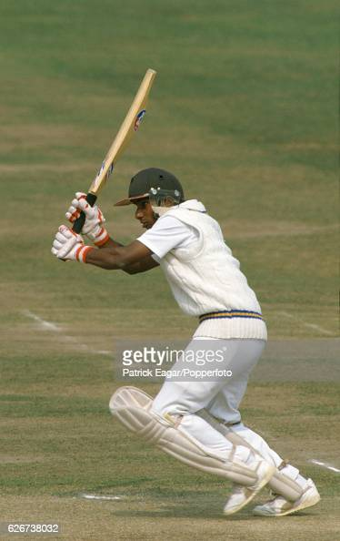 Aravinda de Silva batting for Sri Lanka during his innings of 102 not out in the Only Test match between England and Sri Lanka at Lord's Cricket...