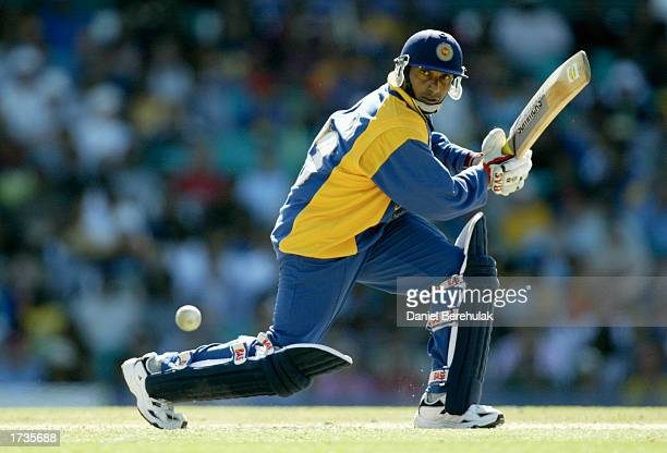 Aravinda De Silva of Sri Lanka in action during the VB series One Day International match played between England and Sri Lanka held at the Sydney...