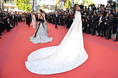 Araya A Hargate and Sonam Kapoor attend the 'From The Land Of The Moon ' premiere during the 69th annual Cannes Film Festival at the Palais des...