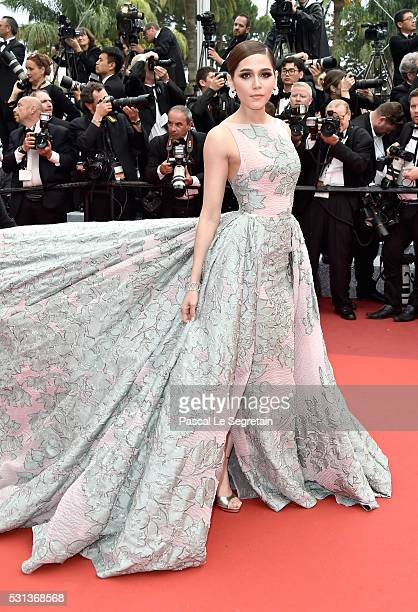 Araya A Hargate attends 'The BFG ' premiere during the 69th annual Cannes Film Festival at the Palais des Festivals on May 14 2016 in Cannes France