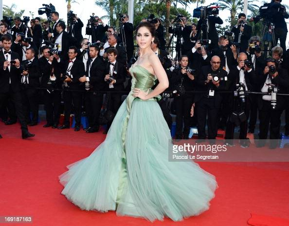 Araya A Hargate attends the 'Cleopatra' premiere during The 66th Annual Cannes Film Festival at The 60th Anniversary Theatre on May 21 2013 in Cannes...