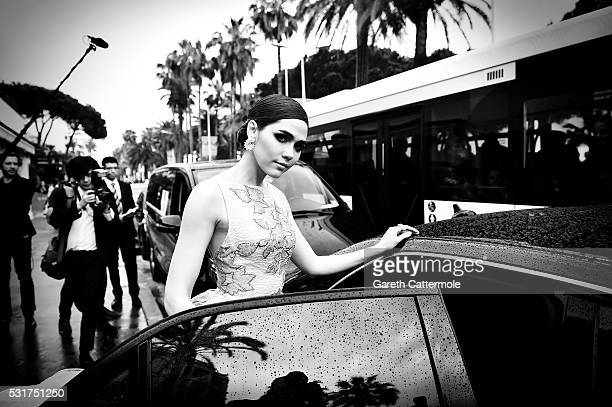 Araya A Hargate departs the Martinez Hotel during the 69th annual Cannes Film Festival on May 14 2016 in Cannes France