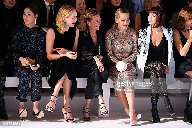 Araya A Hargate Uma Thurman guest Rita Ora and Hanaa Ben Abdesslem attend the Ralph Russo Spring Summer 2016 show as part of Paris Fashion Week on...