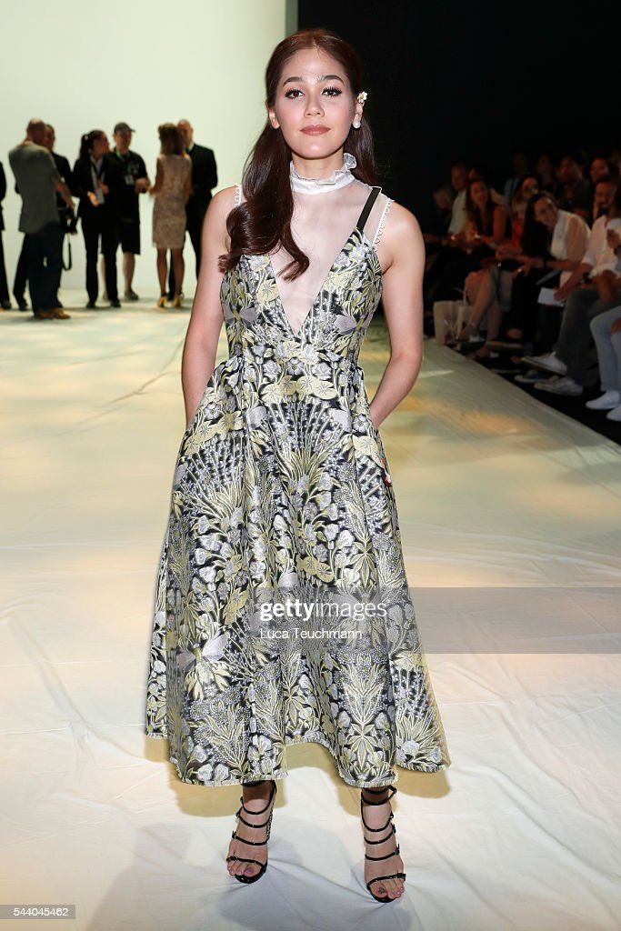 Araya Alberta Hargate attends the Irene Luft show during the Mercedes-Benz Fashion Week Berlin Spring/Summer 2017 at Erika Hess Eisstadion on July 1, 2016 in Berlin, Germany.