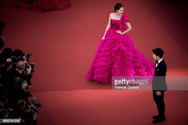 Araya Hargate and Yang Yang attend the '120 Beats Per Minute ' screening during the 70th annual Cannes Film Festival at Palais des Festivals on May...