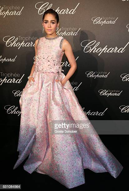 Araya Hargate arrives at the Chopard Trophy Ceremony at the annual 69th Cannes Film Festival at Hotel Martinez on May 12 2016 in Cannes France