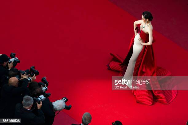Araya Hargate attends 'The Meyerowitz Stories' premiere during the 70th annual Cannes Film Festival at Palais des Festivals on May 21 2017 in Cannes...