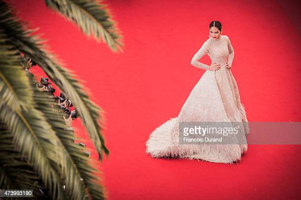 Araya Hargate attends the Premiere of 'Sicario' during the 68th annual Cannes Film Festival on May 19 2015 in Cannes France