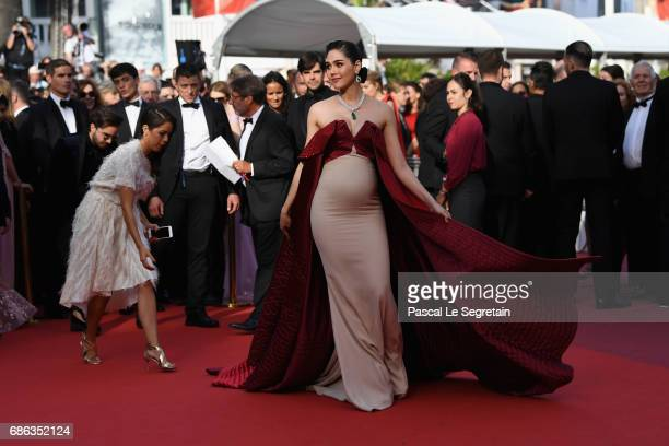 Araya Hargate attends the 'The Meyerowitz Stories' screening during the 70th annual Cannes Film Festival at Palais des Festivals on May 21 2017 in...