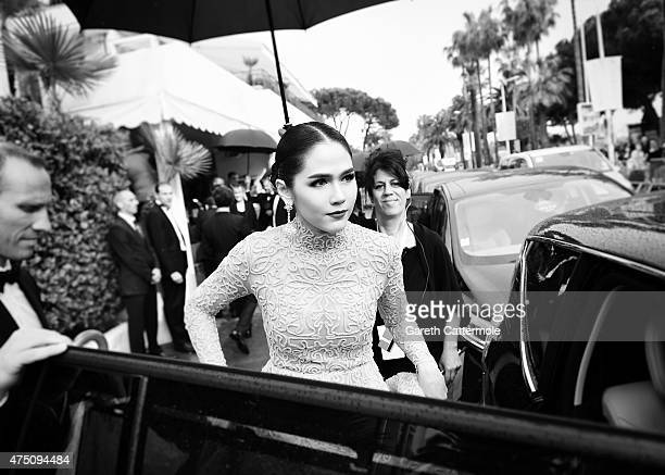 Araya Hargate departs the Martinez Hotel during the 68th annual Cannes Film Festival on May 19 2015 in Cannes France