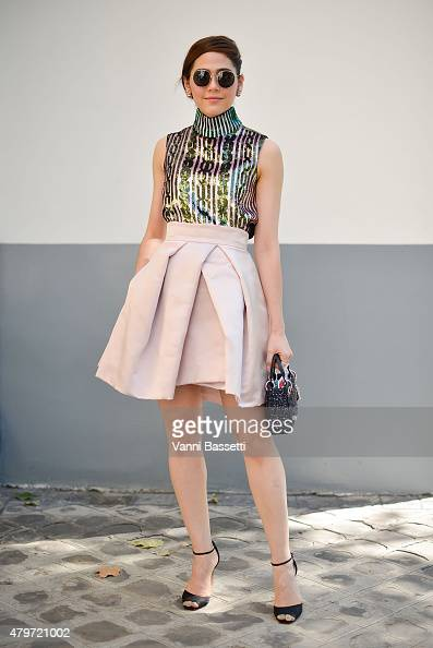 Araya Hargate poses wearing Dior before the Dior Couture show at the Musee Rodin on July 6 2015 in Paris France