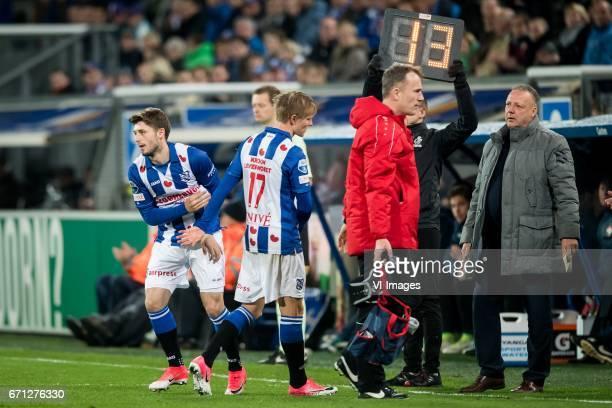 Arber Zeneli of sc Heerenveen Martin Odegaard of sc Heerenveen team manager Herman van Dijkduring the Dutch Eredivisie match between sc Heerenveen...