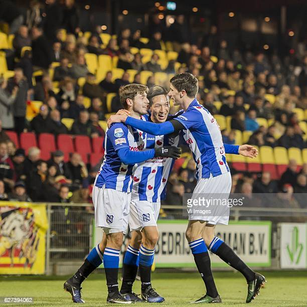 Arber Zeneli of SC Heerenveen Yuki Kobayashi of SC Heerenveen Pelle van Amersfoort of SC Heerenveenduring the Dutch Eredivisie match between Go Ahead...