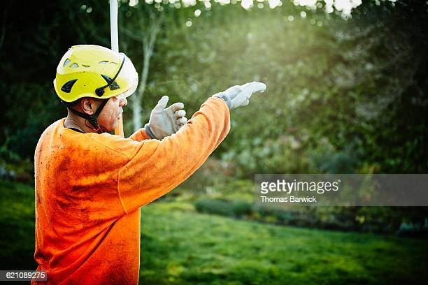 Arborist giving pruning directions to crew