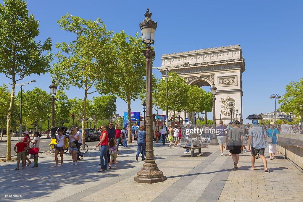 Arc de Triomphe and Avenue Champs-Elysees, Paris