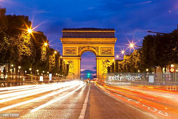 Arc de Triomphe and Avenue des Champs-Elysees.