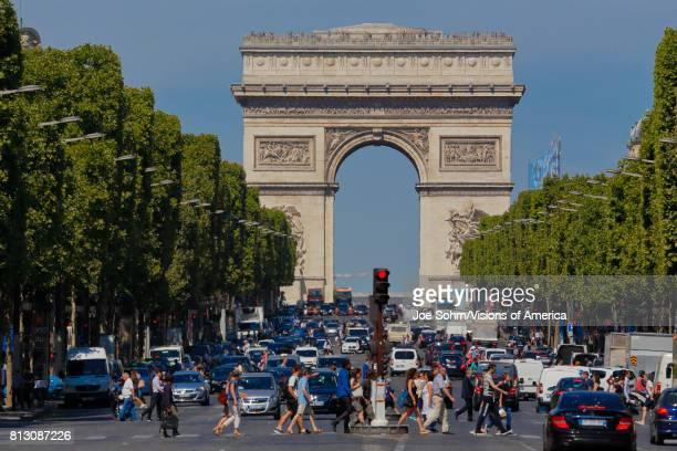 Arc de Triomphe Arch of Triumph as seen during the day Paris