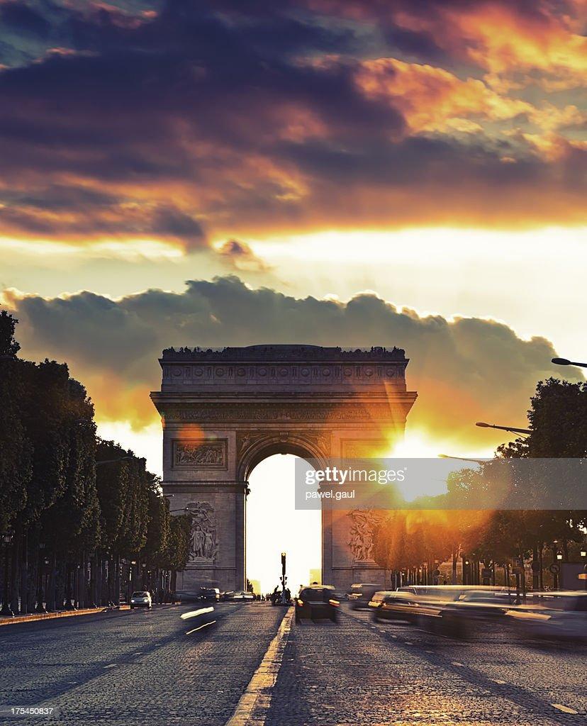 Arc de Triomphe during sunset