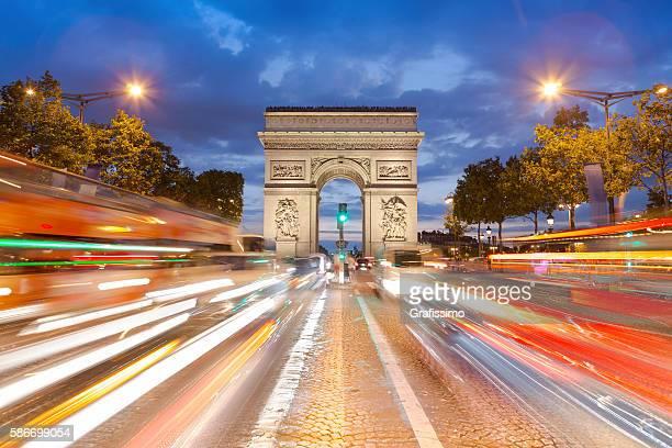 Arc de Triomphe France Paris traffic at Champs-Élysées