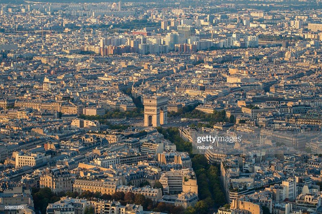 Arc De Triomphe from Eiffel tower : Foto de stock