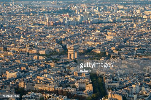 Arc De Triomphe from Eiffel tower : Stock Photo