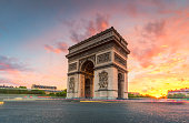 the landmark of Paris, France in the evening