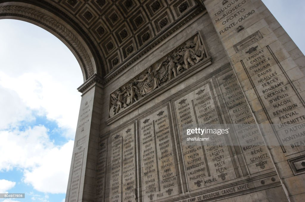Arc De Triump, located in the middle of the Place Charles de Gaulle, a large circular area from which 12 streets emanate. : Stock Photo
