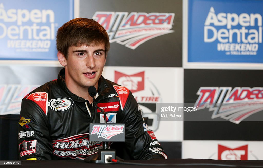 Arca driver Brett Holmes speaks to the media at Talladega Superspeedway on April 29, 2016 in Talladega, Alabama.