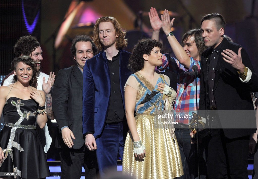Arcade Fire accepts an award onstage during The 53rd Annual GRAMMY Awards held at Staples Center on February 13, 2011 in Los Angeles, California.