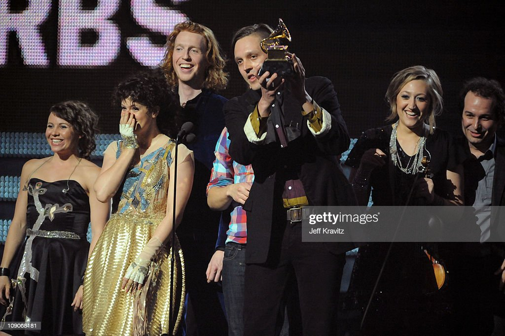 <a gi-track='captionPersonalityLinkClicked' href=/galleries/search?phrase=Arcade+Fire&family=editorial&specificpeople=2220929 ng-click='$event.stopPropagation()'>Arcade Fire</a> onstage during The 53rd Annual GRAMMY Awards held at Staples Center on February 13, 2011 in Los Angeles, California.